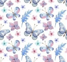 素色蝴蝶和花卉无缝背景矢量图