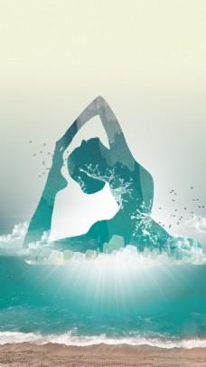 绿色海水花式游泳H5背景素材