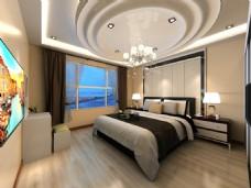 中式简约现代卧室效果图
