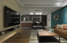 简约美式客厅背景墙效果图