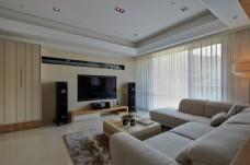 现代客厅木质背景墙效果图