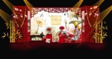 中式雕花竹子布幔展示签到婚礼效果图