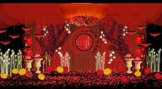 红色中式婚礼迎宾区效果图