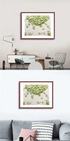 高档绿植无框画设计
