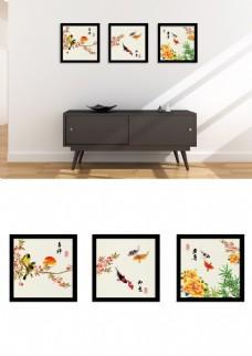 中国风大气水墨喜鹊锦鲤牡丹三联装饰画