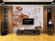 纯中式风格3D背景墙样机
