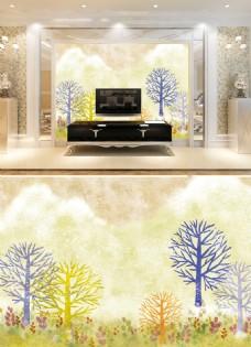 韩风卡通树电视背景墙
