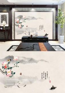 中国风山水花鸟鱼画写意风景背景墙