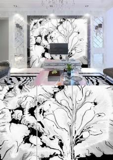 现代简约黑白线条树干简洁背景墙