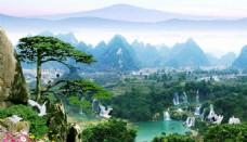 桂林山水甲天下装饰画背景墙