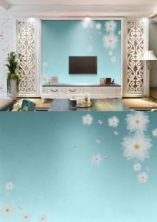 现代简约淡雅蓝色花朵透明质感背景墙