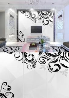 现代简约黑白线条花纹典雅简洁背景墙