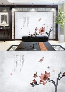 中国风水墨蝴蝶花写意画背景墙