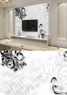 浮雕3d几何白色方框花纹现代淡雅背景墙