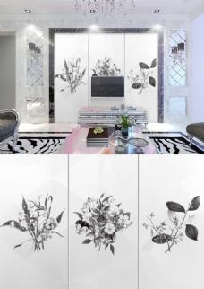 现代简约黑白灰花朵图案简洁背景墙