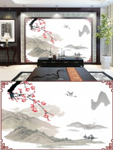 水墨风格背景墙