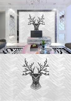 现代简约黑白麋鹿条纹简洁背景墙
