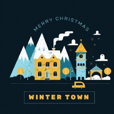 复古冬季城镇