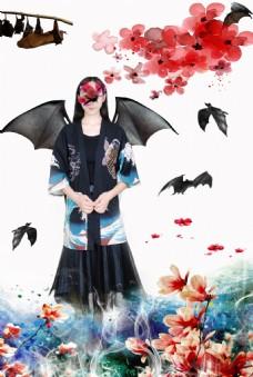 蝙蝠花朵人物背景素材