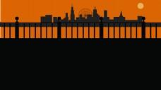 旅游城市剪影背景