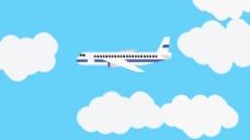 白色云朵飞机视频背景