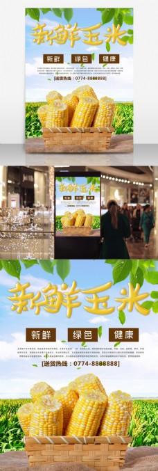 新鲜玉米蔬菜促销宣传海报