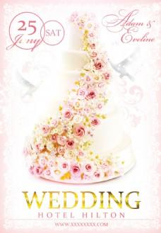 欧式唯美浪漫玫瑰花朵婚礼婚庆海报