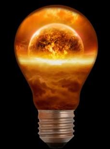 创意金色灯泡包含世界毁灭末日元素设计