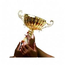 金色奖杯集体捧手元素