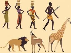 非洲部落人物动物矢量背景