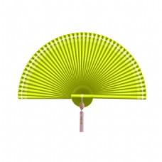 中国风绿色扇子png元素