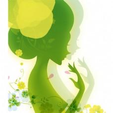 手绘绿色春姑娘元素