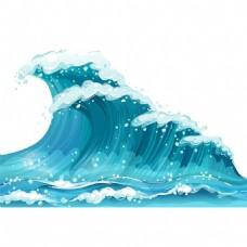 手绘蓝色大海元素