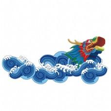 手绘海浪神龙元素