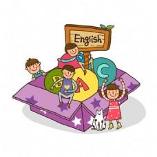 卡通礼盒学英语元素