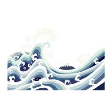手绘海浪波浪元素