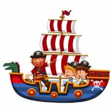 卡通海盗船元素