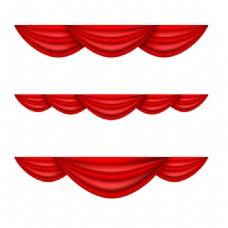 红色丝绸布png元素