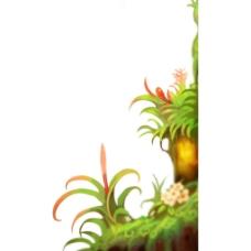 手绘花草油画元素