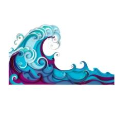 手绘花纹海浪元素