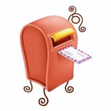 手绘邮箱投递元素