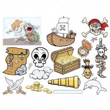 卡通骷髅头元宝箱png元素