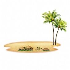 手绘沙滩草屋元素