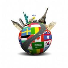 手绘国旗地球元素