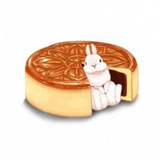 中秋月饼小兔子元素