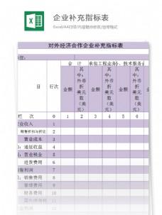 对外经济合作企业补充指标表excel模板