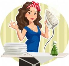 熨烫衣服的女人插画