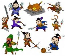中国古代人物插画线稿+涂色图层