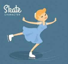 滑冰的金发女子矢量
