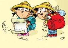 外出旅行的孩子插画